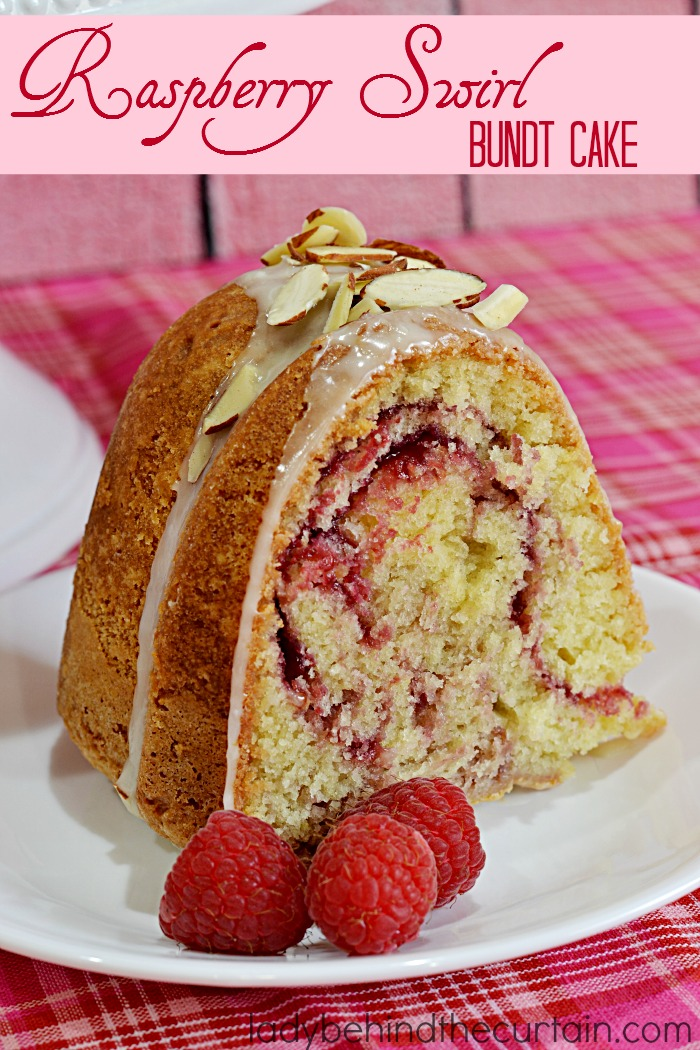 Raspberry Swirl Bundt Cake | This delicious Valentine's Day Dessert is a moist cake with swirls of fresh raspberry sauce.