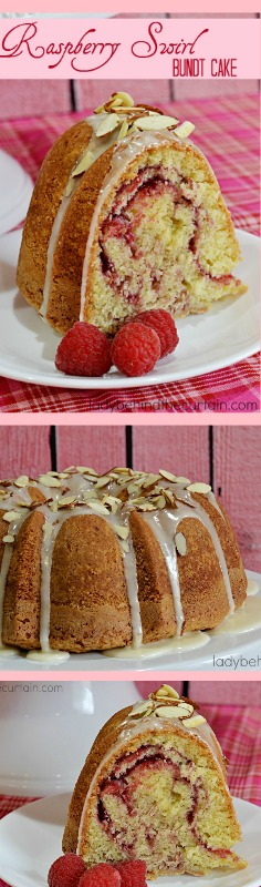 Raspberry Swirl Bundt Cake | This delicious Valentine's Day Dessert moist cake has swirls of fresh raspberry sauce.
