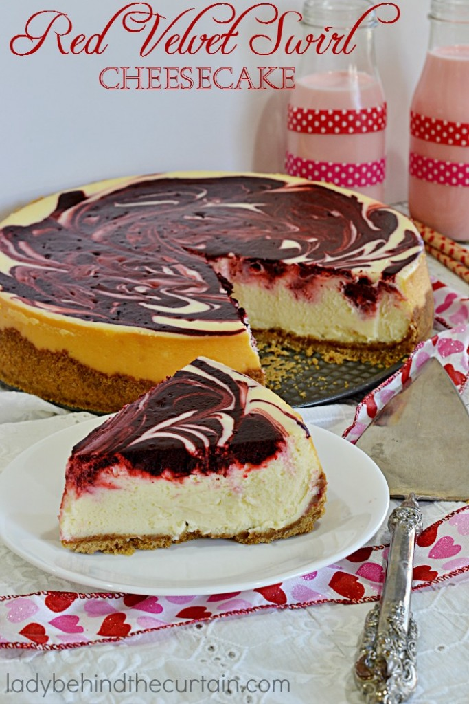 Red Velvet Swirl Cheesecake   A delightful mixture of the timeless red velvet favorite paired with a silky cheesecake. Simply the perfect Valentine's Day Dessert!