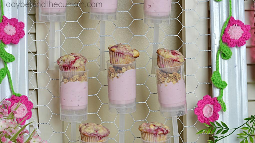 Raspberry Parfait with Mini Muffins
