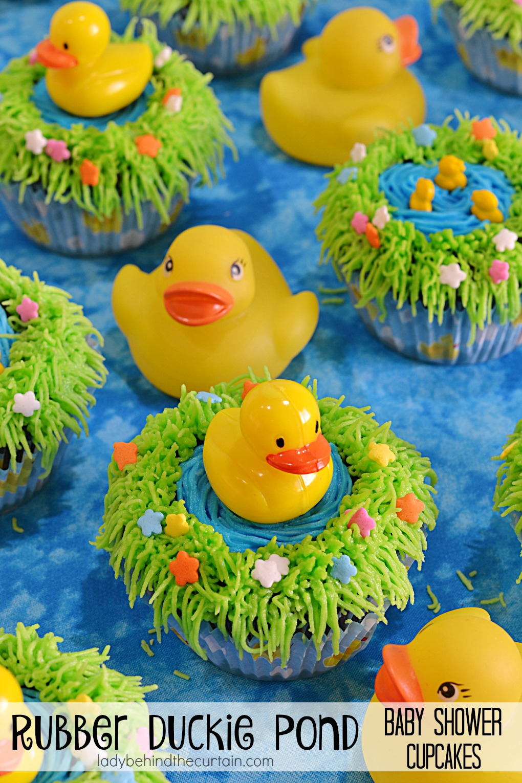 Rubber Duckie Pond Baby Shower Cupcakes