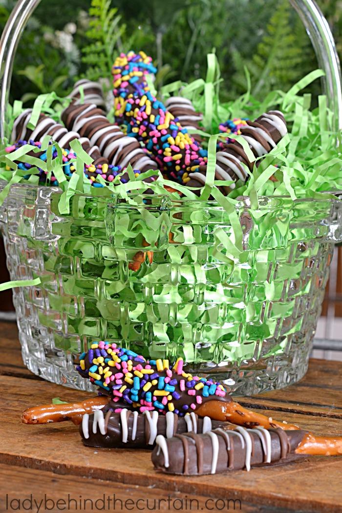 Easter Basket Caramel Dipped Pretzels