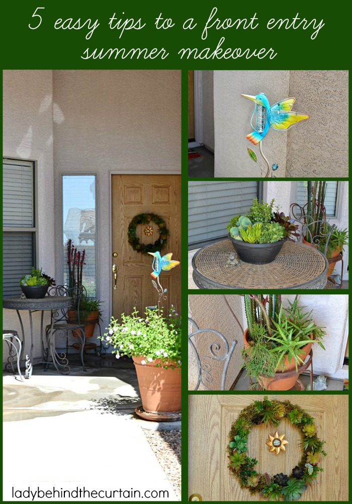 5 Easy Tips to a Front Entry Summer Makeover   Summertime calls for a new look! I love this makeover!