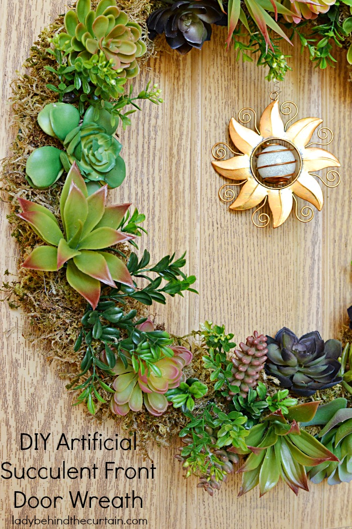 summer wreaths for front doorDIY Artificial Succulent Front Door Wreath