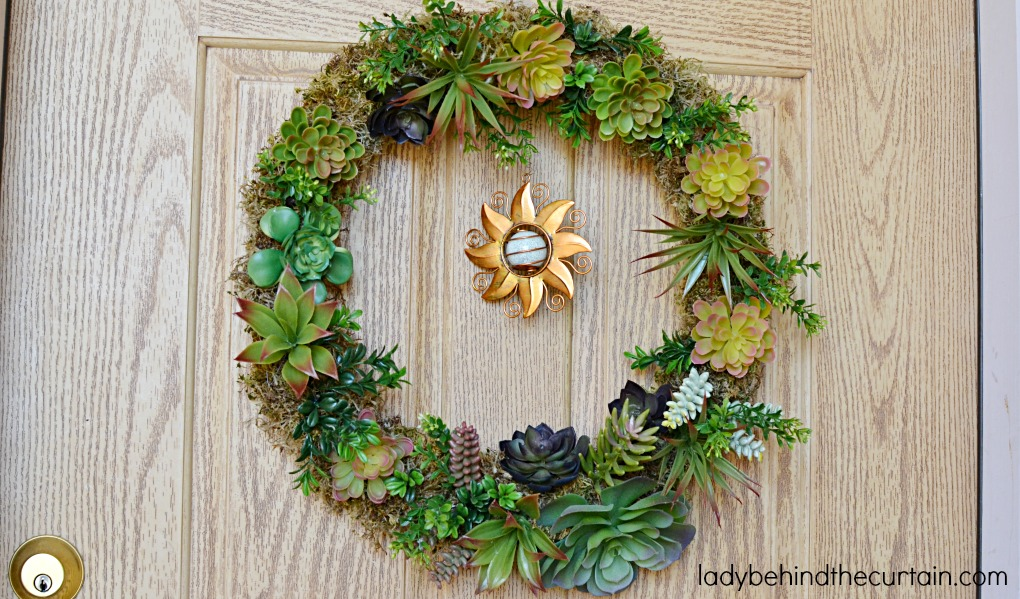 DIY Artificial Succulent Front Door Wreath | The perfect summer wreath! I got the succulents & DIY Artificial Succulent Front Door Wreath pezcame.com