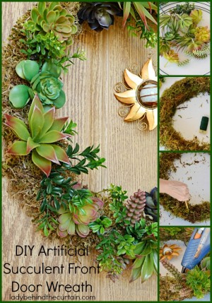 DIY Artificial Succulent Front Door Wreath | The perfect summer wreath! I got the succulents from the 99cent store!