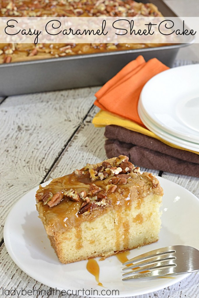 How to Make Easy Caramel Sheet Cake | This light and fluffy Southern Heirloom white cake has one surprising ingredient...