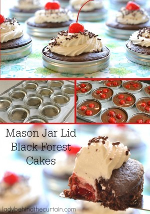 Mason Jar Lid Black Forest Cakes | These super fun little cakes made in a wide mouth mason jar lid scream PARTY!