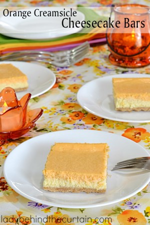 Orange Creamsicle Cheesecake Bars | The perfect easy and light dessert for a Spring Brunch, Ladies Tea, Bridal Shower or Baby Shower.