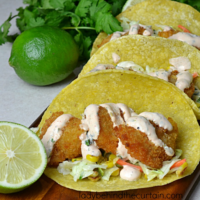 Semi Homemade Shrimp Tacos with Roasted Corn Slaw | For a quick and easy weeknight dinner make tacos using already breaded frozen shrimp.