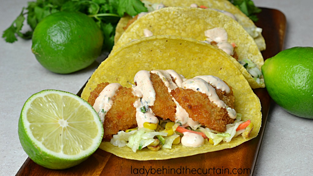 Semi Homemade Shrimp Tacos with Roasted Corn Slaw