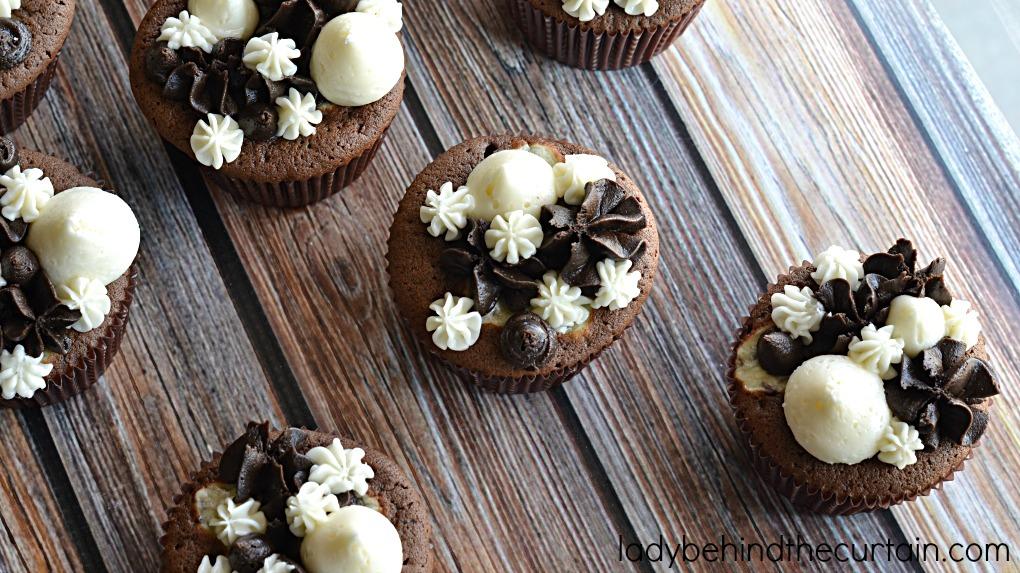 Triple Chocolate Fudge Cupcakes