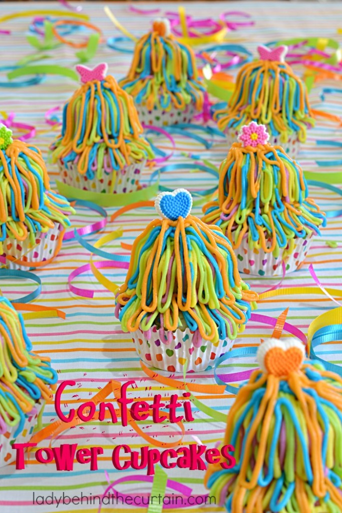 These Confetti Tower Cupcakes were the BEST! I'm totally making them for my daughters birthday party!