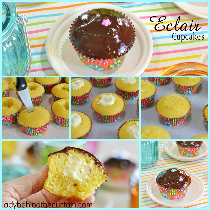 These Eclair Cupcakes are a nod to the popular eclair pastry. With a vanilla pudding filling and dipped in a chocolate ganache. Perfect for any celebration! These are super easy to make. Starting with a cake mix, filled with vanilla pudding and topped with a decadent chocolate ganache!