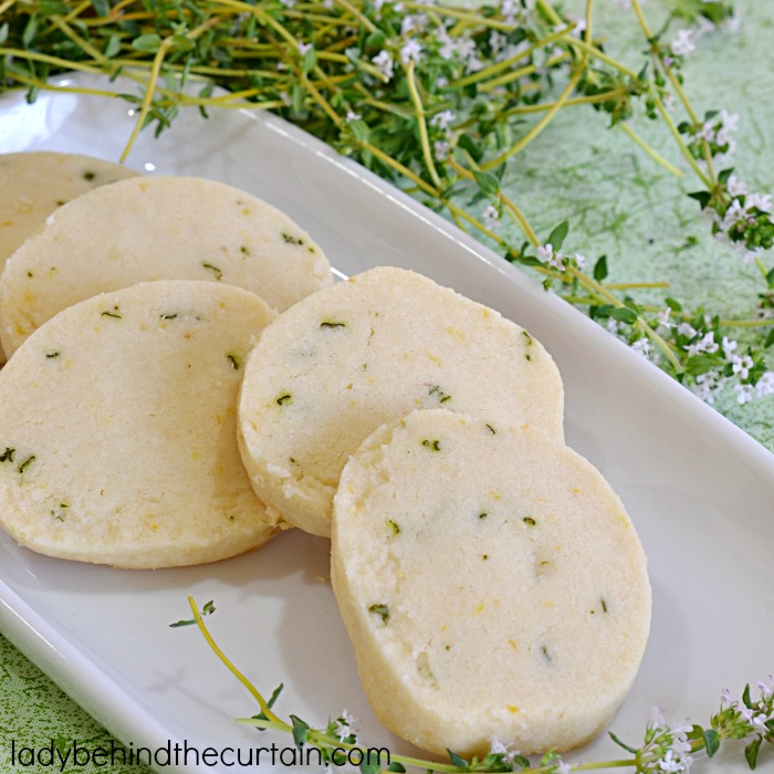 Lemon Thyme Shortbread Cookies | These unique cookies were perfect at my ladies luncheon!