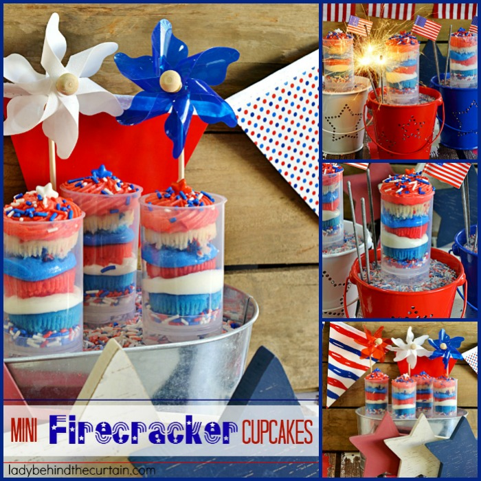 Mini Firecracker Cupcakes | Celebrate Memorial Day or the 4th of July with these fun easy to make cupcakes!