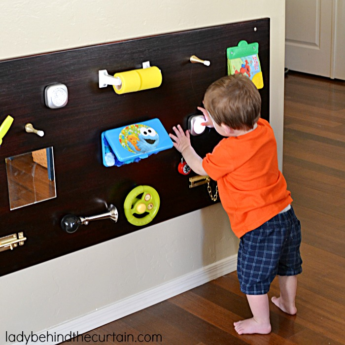 Toddler DIY Sensory Board   To make playtime more enjoyable cusomize a play board to suite your childs needs.