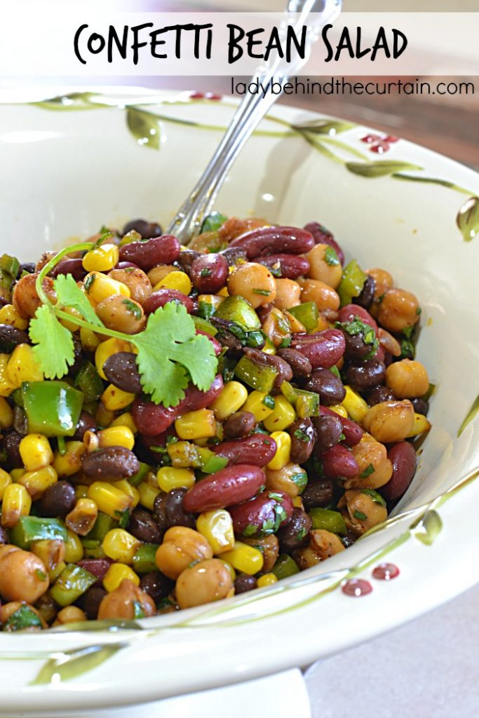 Confetti Beans Salad | You never have to buy this salad at a deli again! Not only does is taste just as good (if not better) then the deli version but it's also easy to make and very versatile.