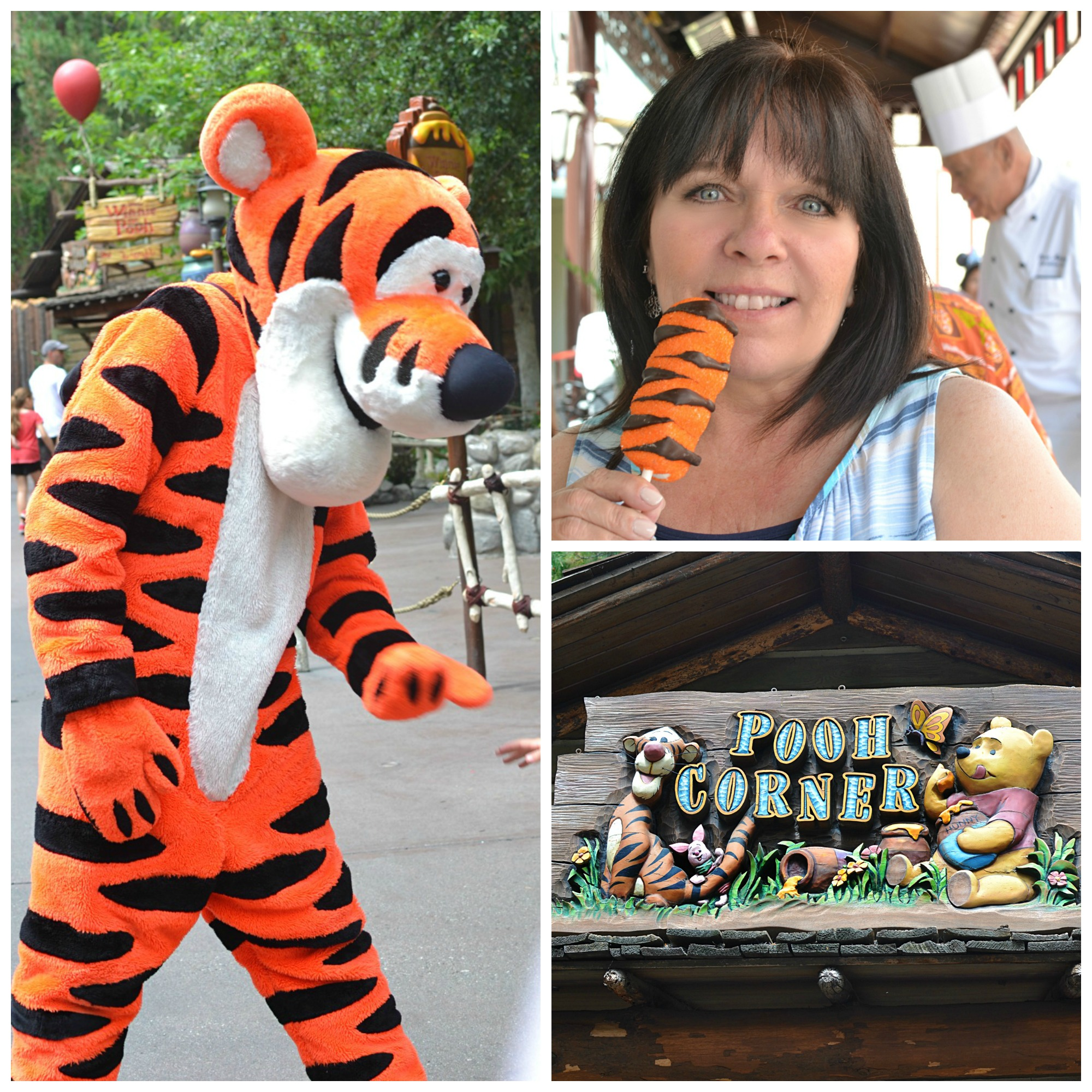 Copycat Disneyland Tigger Tails | Four large marshmallow stacked together, dipped in caramel, melted candy, sprinkled with orange sugar and a drizzle of dark chocolate.