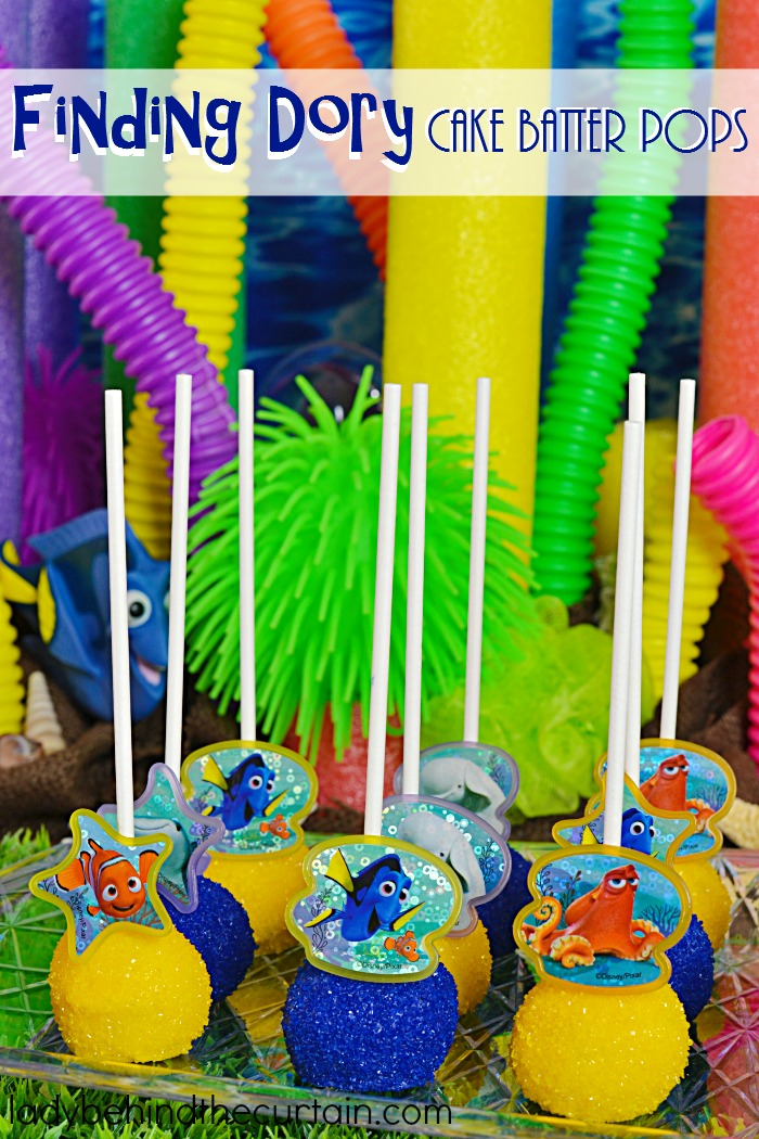 Finding Dory Cake Batter Pops   This 4 ingredient treat is full of fun and makes a sweet party favor or is also perfect on your birthday party table. The best part? These are NO BAKE pops! That's right all you do is add melted butter to a cake mix!