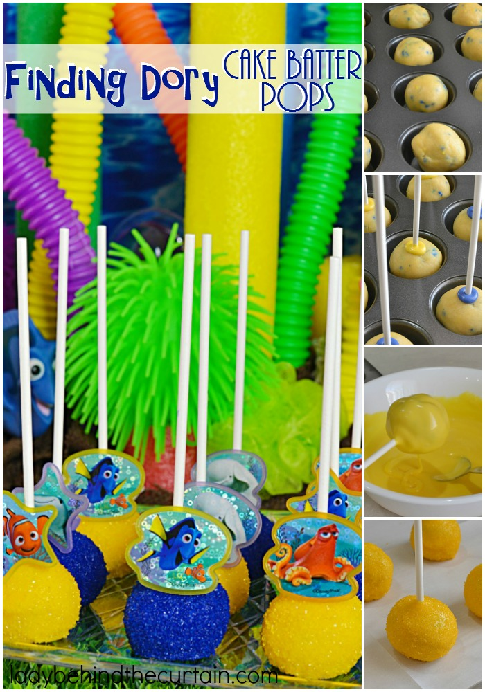 Finding Dory Cake Batter Pops | This 4 ingredient treat is full of fun and makes a sweet party favor or is also perfect on your birthday party table. The best part? These are NO BAKE pops! That's right all you do is add melted butter to a cake mix!