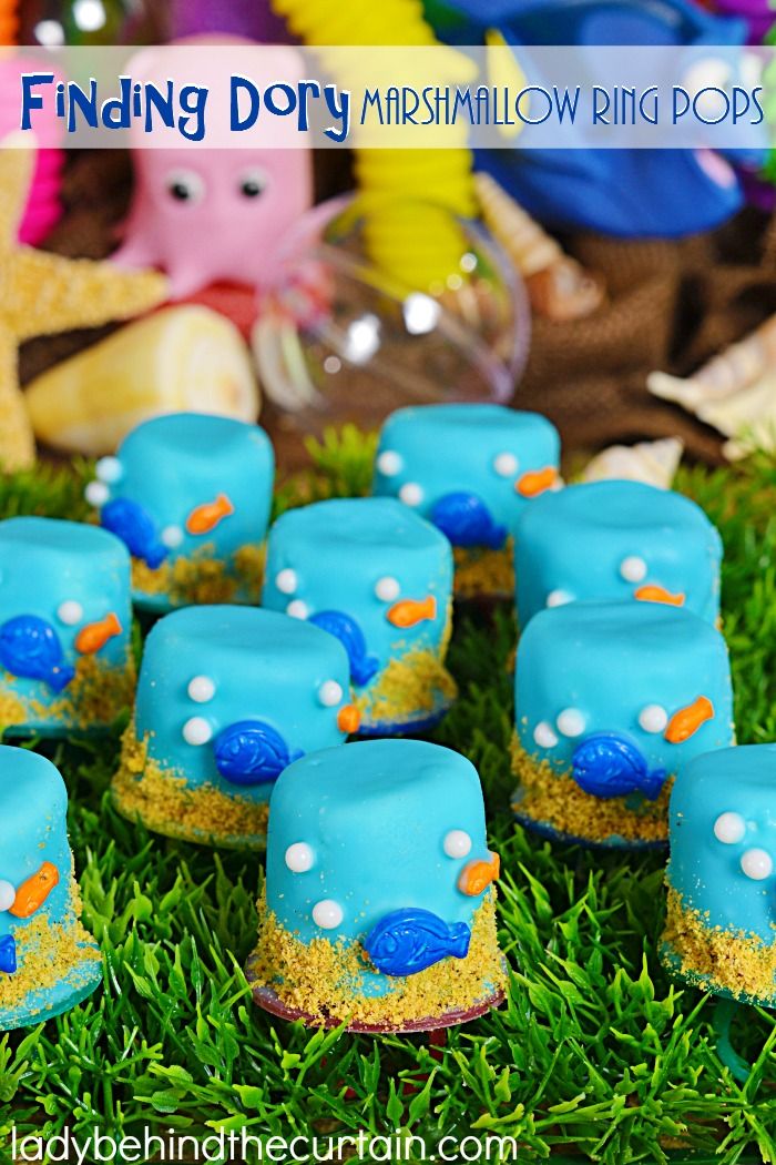 Finding Dory Marshmallow Ring Pops   Recycle your ring pops into marshmallow pops for your kids birthday party!