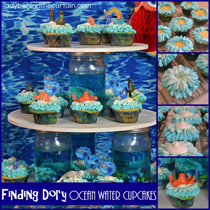 Finding Dory Ocean Water Cupcakes | Perfect for a Finding Dory Party, pool party, or to celebrate shark week!