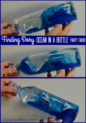 Finding Dory Ocean In A Bottle Party Favor | These fun ocean bottles are great as a party favor (maybe more for the Moms then the kids). They are something that can be used over and over again.