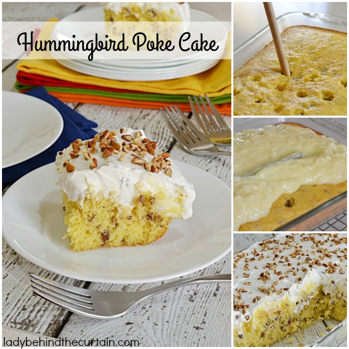 Hummingbird Poke Cake | The perfect potluck cake! Full of pecan, pineapple and banana flavor.