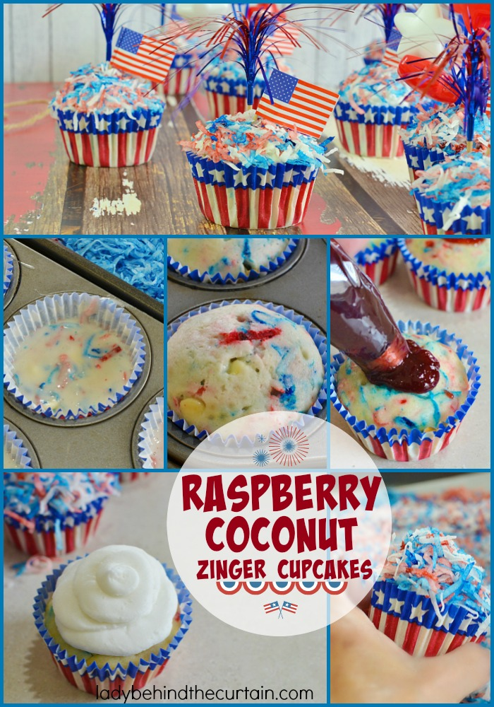 Raspberry Coconut Zinger Cupcakes   These delicious cupcakes have a mixture of coconut and white chocolate chips and a hidden raspberry treasure.