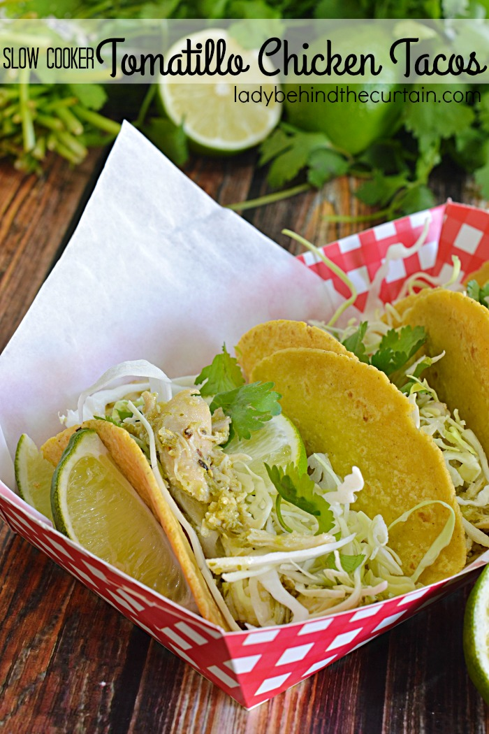 Tomatillo Chicken Tacos   This flavorful chicken can be used for tacos or sandwiches! Look below for my idea on how you can take these from tacos one night and a delicious sandwich the next! Plus, a shortcut idea!