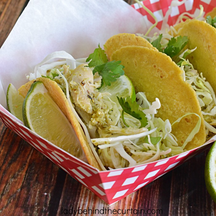 Tomatillo Chicken Tacos | This flavorful chicken can be used for tacos or sandwiches! Look below for my idea on how you can take these from tacos one night and a delicious sandwich the next! Plus, a shortcut idea!