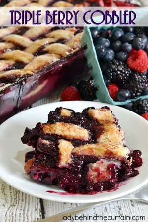 Triple Berry Cobbler | With gooey crust center and a crunchy top this cobbler has something for everyone.