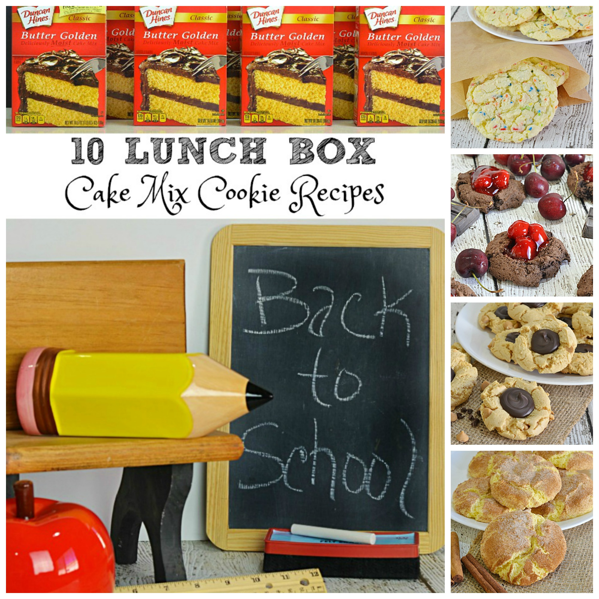 10 Lunch Box Cake Mix Cookie Recipes | Whether you're packing lunch for the kids, yourself or the hubs you are sure to find a cookie recipe everyone will love. The good news is... ALL these cookie recipes are made with a cake mix!