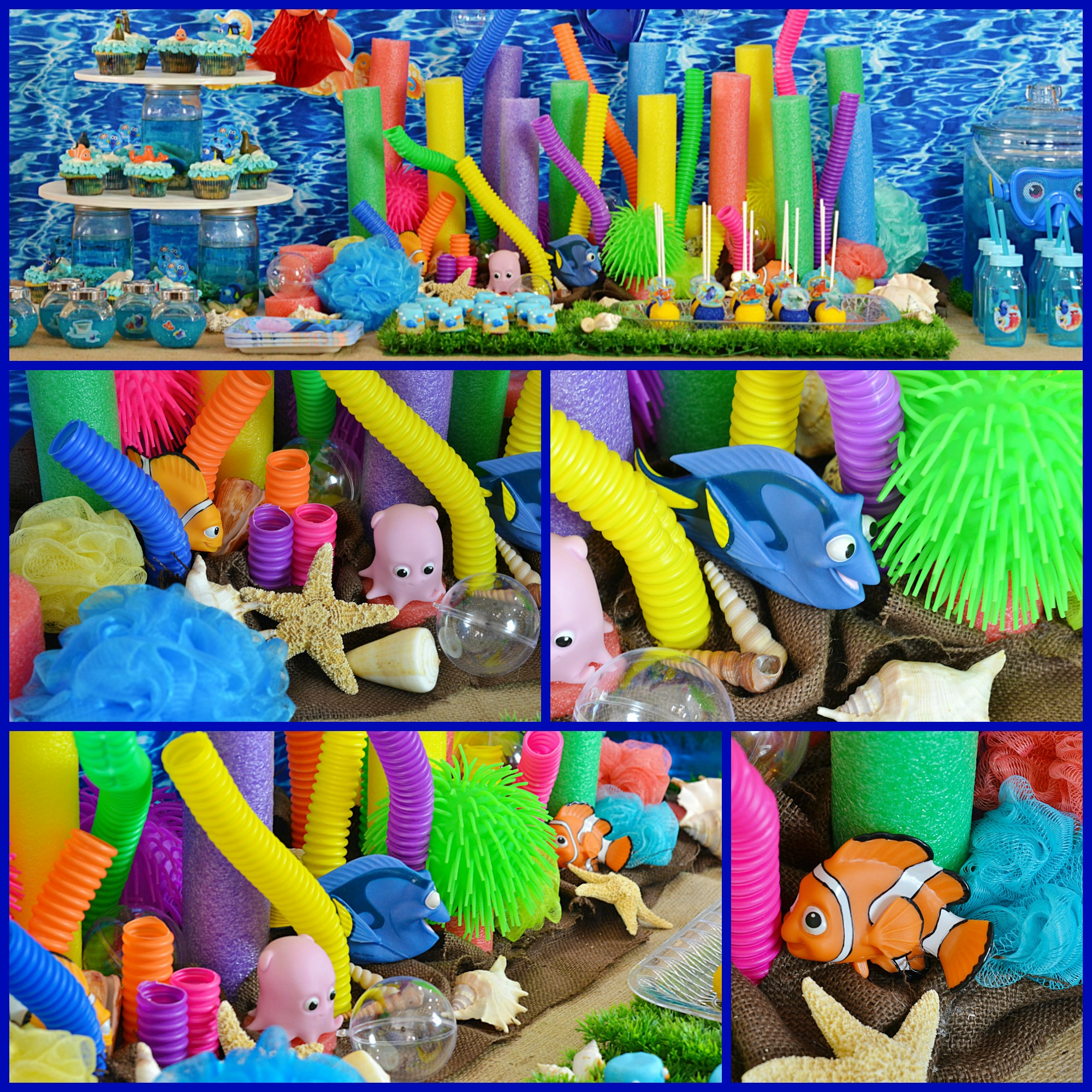 Finding Dory Coral Reef Party Centerpiece | Create a fun and easy centerpiece with inexpensive items and set the tone for a great party.