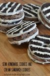Semi Homemade Cookies and Cream Sandwich Cookies | Add a cheesecake filling between two store bought cookies and what do you get? A delicious party cookie that your guests will never know started with a store bought cookie!
