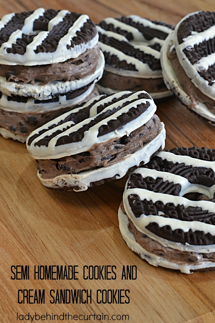 Semi Homemade Cookies and Cream Sandwich Cookies   Add a cheesecake filling between two store bought cookies and what do you get? A delicious party cookie that your guests will never know started with a store bought cookie!