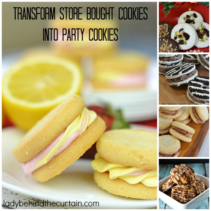 Transform Store Bought Cookies into Party Cookies |  This round up has three ways to transform store bought cookies into party cookies with five recipes.  Basically a hostesses dream dessert.