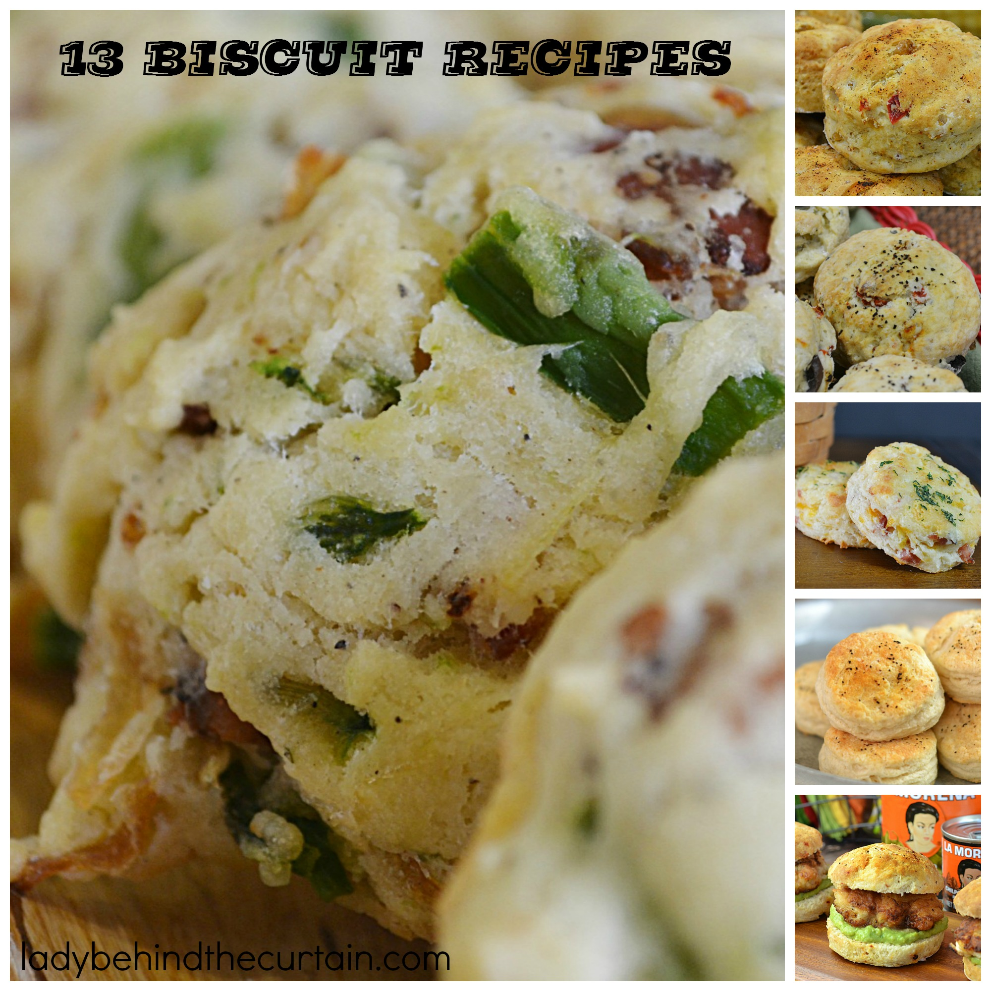 13 Biscuit Recipes | Breakfast, lunch, dinner and even dessert! This round up has a biscuit recipe for any time of the day. From Italian, Chipotle Honey, Peach Cobbler and Pumpkin Spice just to name a few.