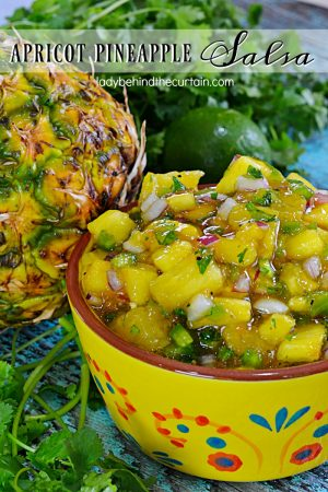 Apricot Pineapple Salsa | The perfect blend of sweet and spicy. This easy to make salsa will take whatever you serve it with up to the next level. With big chunks of fresh pineapple, apricot preserves and the salsa favorites of cilantro, lime juice, jalapeno and a few other ingredients you better make sure you double the recipe!
