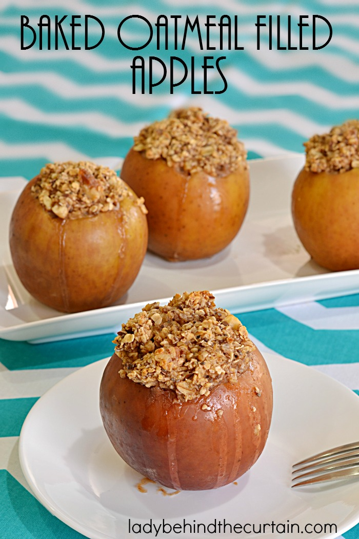 Baked Oatmeal Filled Apples | Breakfast never looked so good or tasted so good! Add more flavor to your baked oatmeal by filling hollowed out apples.