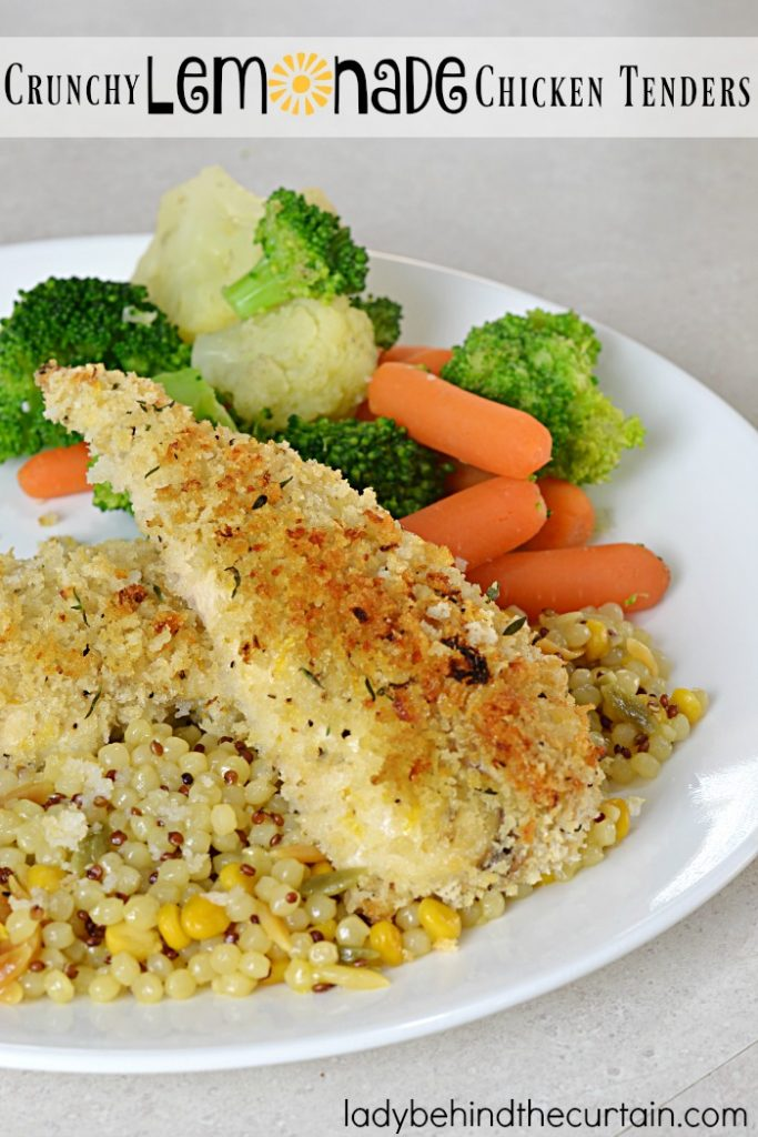 Crunchy Lemonade Chicken Tenders   These chicken tenders are nice and crunchy without frying and full of the light and bright lemon flavor.