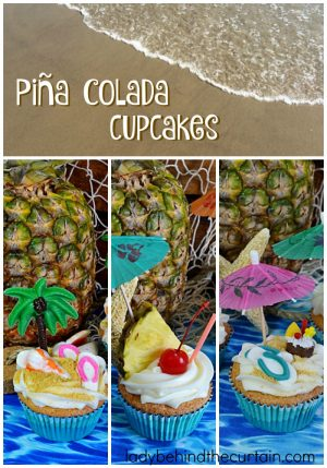 Piña Colada Cupcakes | Celebrate the refreshing tastes of summer in a cupcake! These coconut rum cupcakes offer the flavors of the tropics.