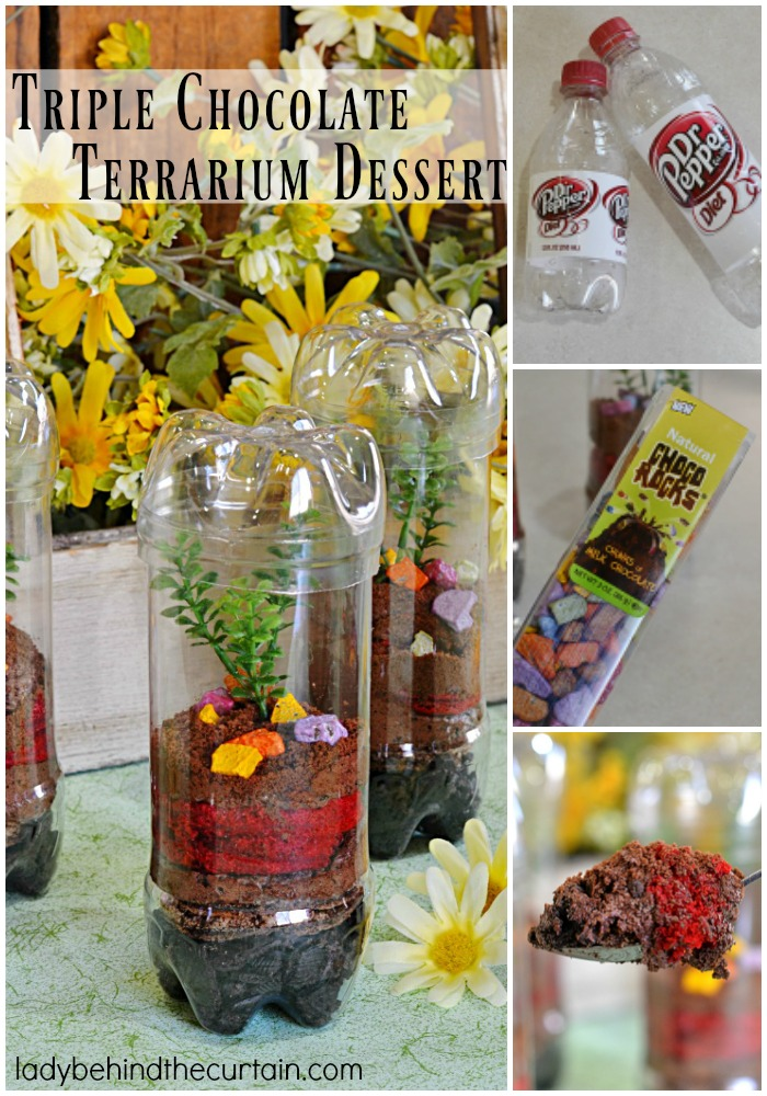Triple Chocolate Terrarium Dessert | By using two everyday items you can dress up a simple dessert and make it look like a terrarium!