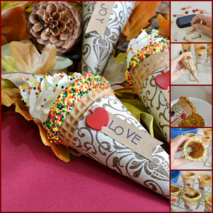 Apple Pie Cheesecake Filled Cones | These fun cones are filled with delicious fluffy cheesecake and little pockets of apple pie filling. A fun and easy was to serve your guests no bake cheesecake!