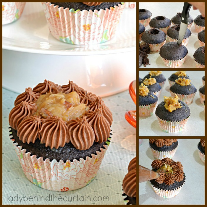 German Chocolate Cupcakes | A deep chocolate cupcake filled with the delicious coconut frosting that we all love along with a creamy butter chocolate frosting.  The perfect chocolate cupcake!
