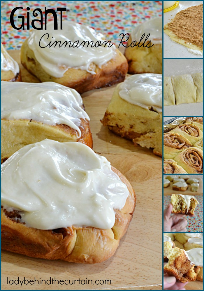 Giant Cinnamon Rolls | I make these cinnamon rolls every Christmas morning and for birthdays! These nice large rolls are not too sweet and are perfect for those rainy mornings.