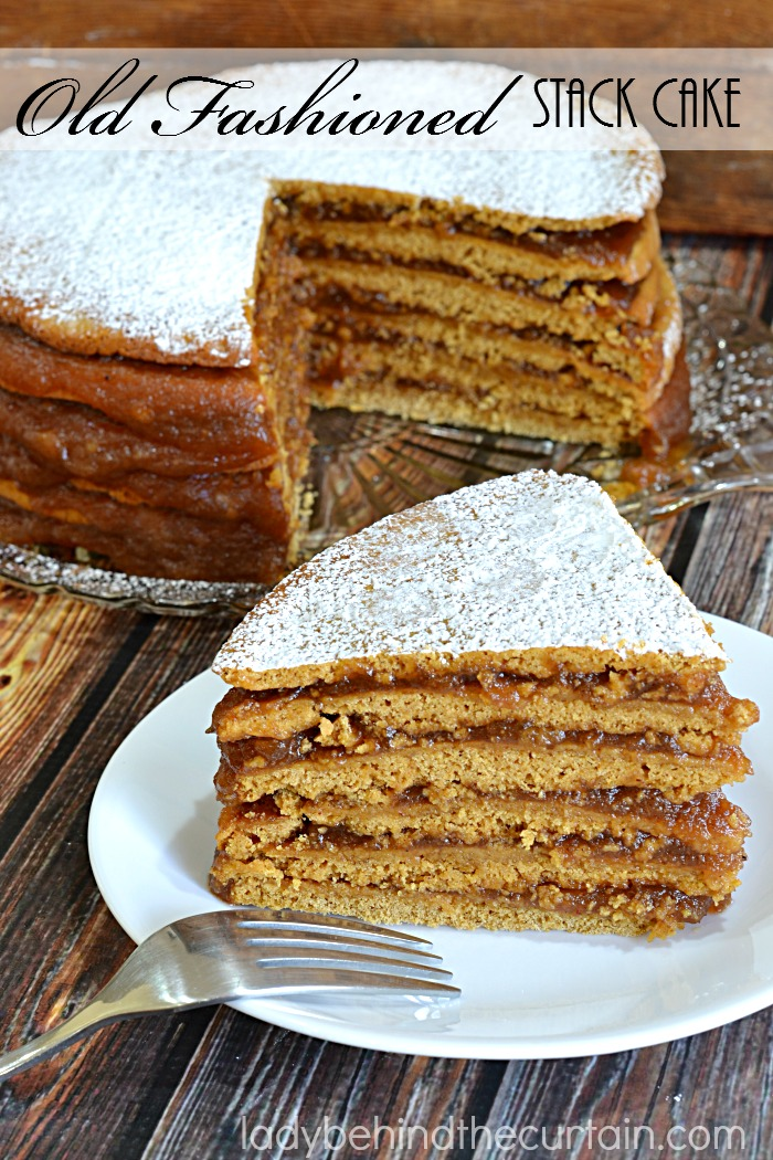 Old Fashioned Stack Cake | With SIX spicy cake layers (more like a gingerbread cookie) and homemade apple butter this cake is sure to be your families new favorite Fall cake.