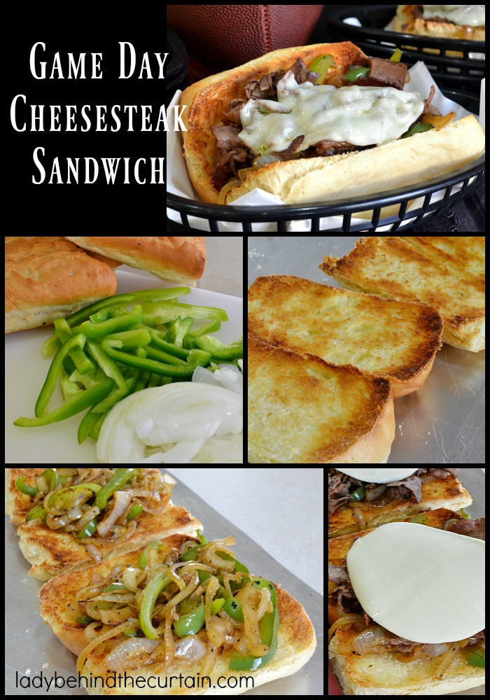 Game Day Cheese Steak Sandwich | This sandwich is piled high with roast beef, peppers and onions but the star of the show is the creamy cheese.