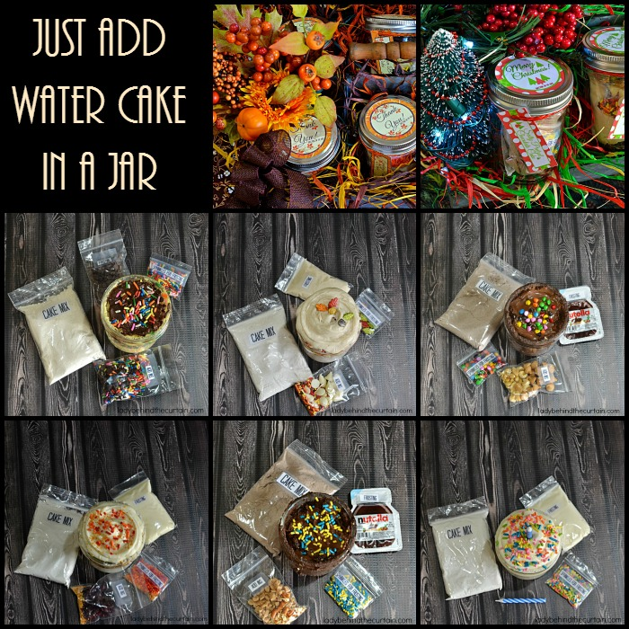 Just Add Water Cake in a Jar | Give the gift of cake! Give a single cake as a Secret Santa gift or the whole six pack for a Thanksgiving hostess gift. These also make a great Office party Christmas gift.